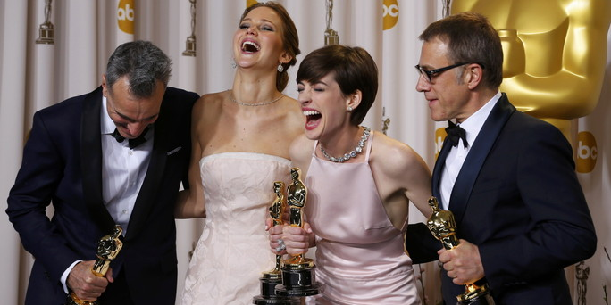 Day Lewis, Lawrence, Hathaway and Waltz, pose with their Oscars backstage at the 85th Academy Awards in Hollywood
